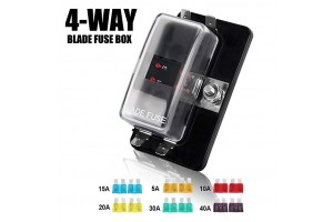 4-Way Blade Fuse Box - 12~32V 4-Circuit Fuse Block
